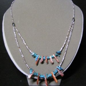 Boho Stone Bead Necklace Coral and Rock
